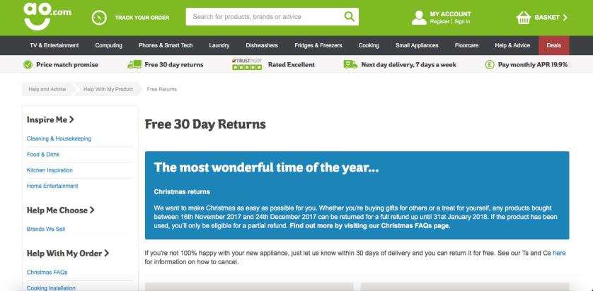 AO.com returns page