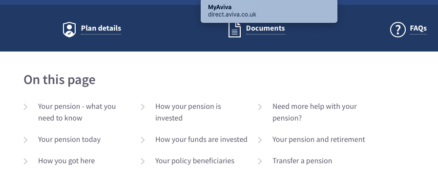 Shows the options available to the customer / user on the pensions administration page at Aviva.co.uk